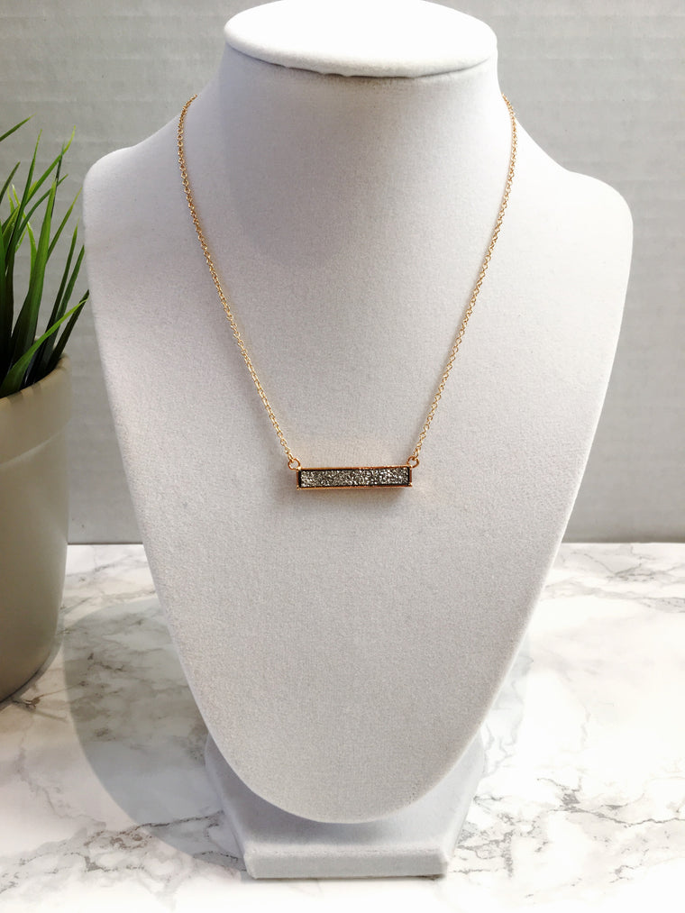 Gunmetal Druzy Bar Necklace