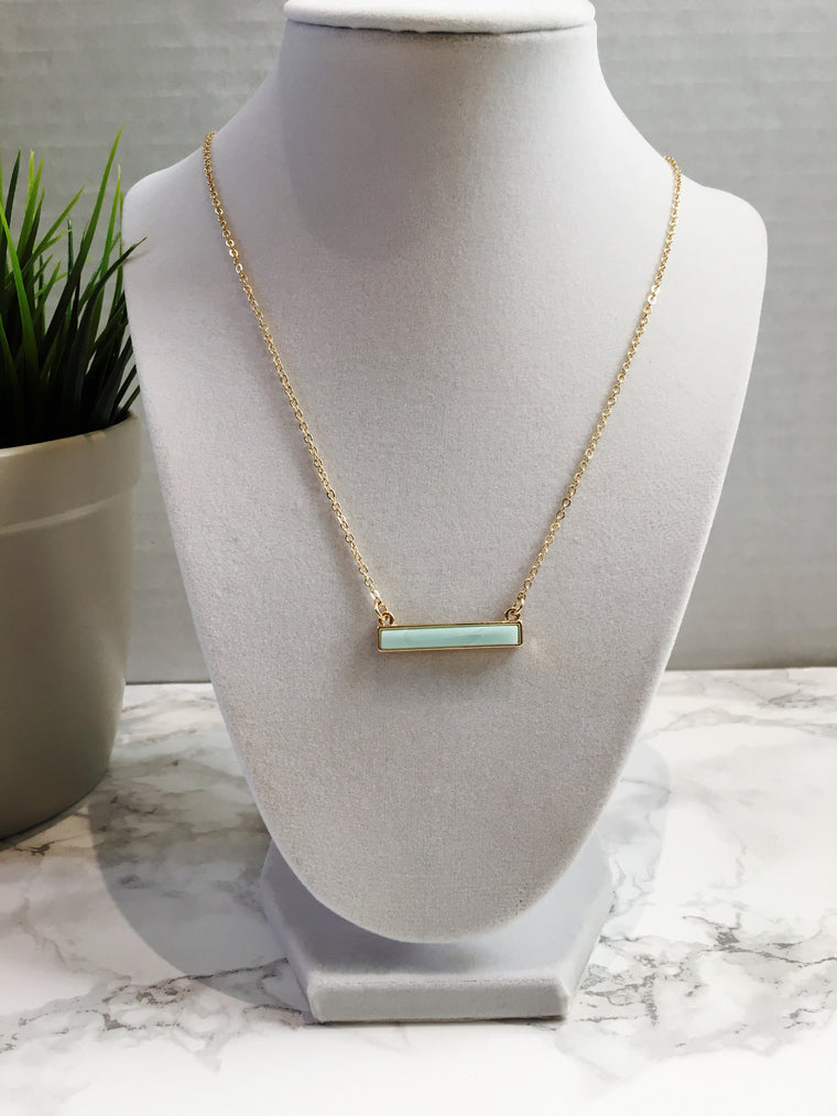 Mint Stone Bar Necklace