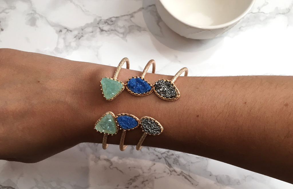 Royal Blue Druzy Cuff Bracelet - Anna Jane  - 4