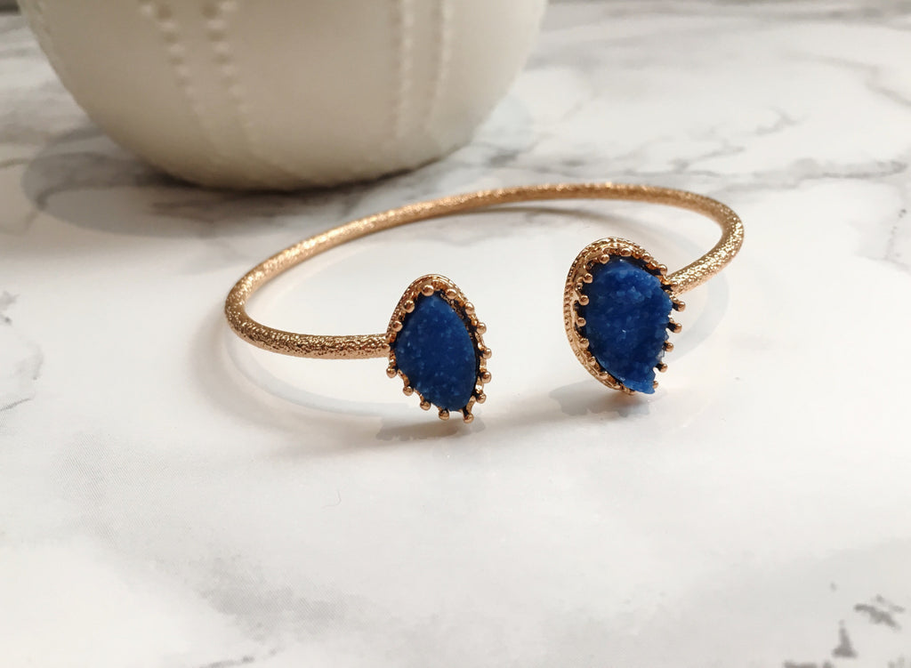 Royal Blue Druzy Cuff Bracelet - Anna Jane  - 2
