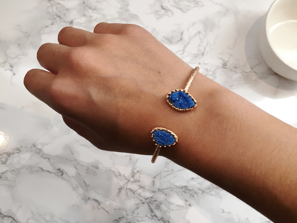 Royal Blue Druzy Cuff Bracelet - Anna Jane  - 3