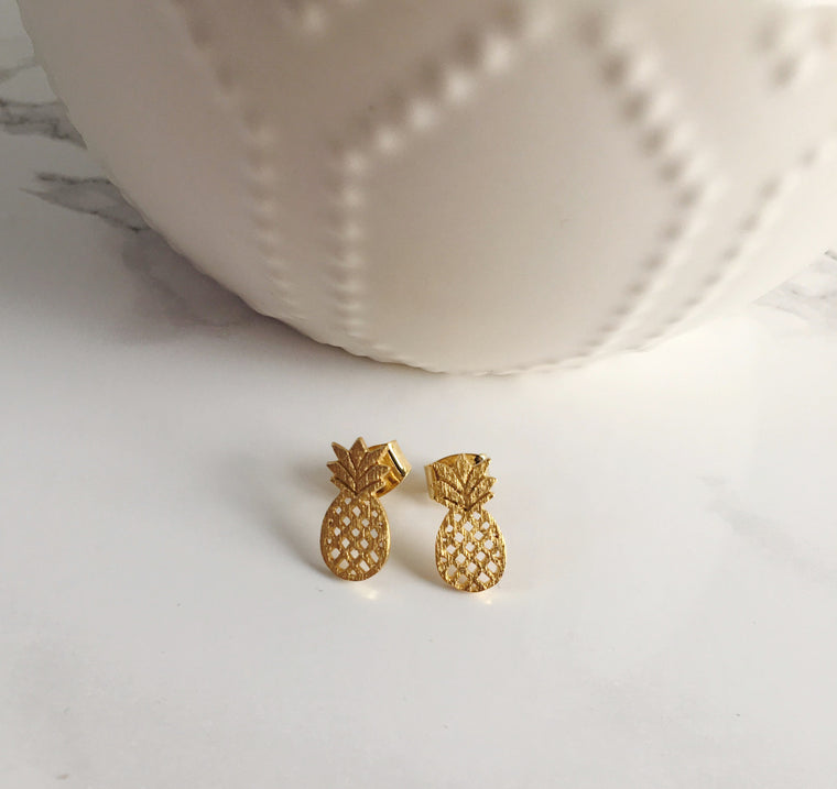 Tiny Pineapple Studs- Gold - Anna Jane  - 1