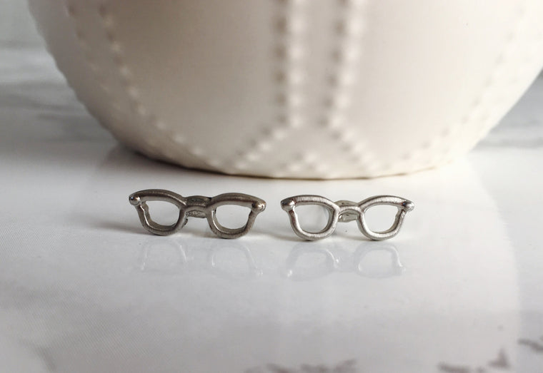 Dainty Glasses Studs- Silver - Anna Jane  - 1