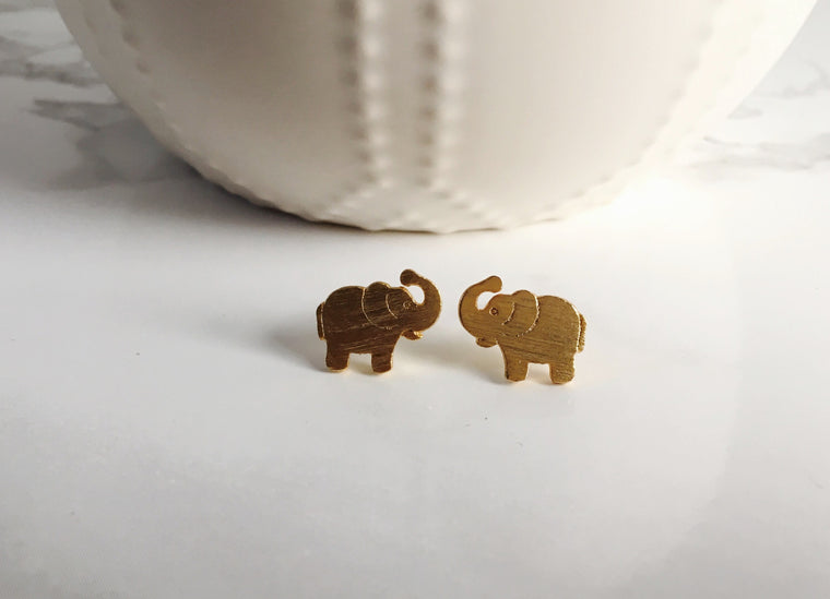 Tiny Elephant Studs- Gold - Anna Jane  - 1