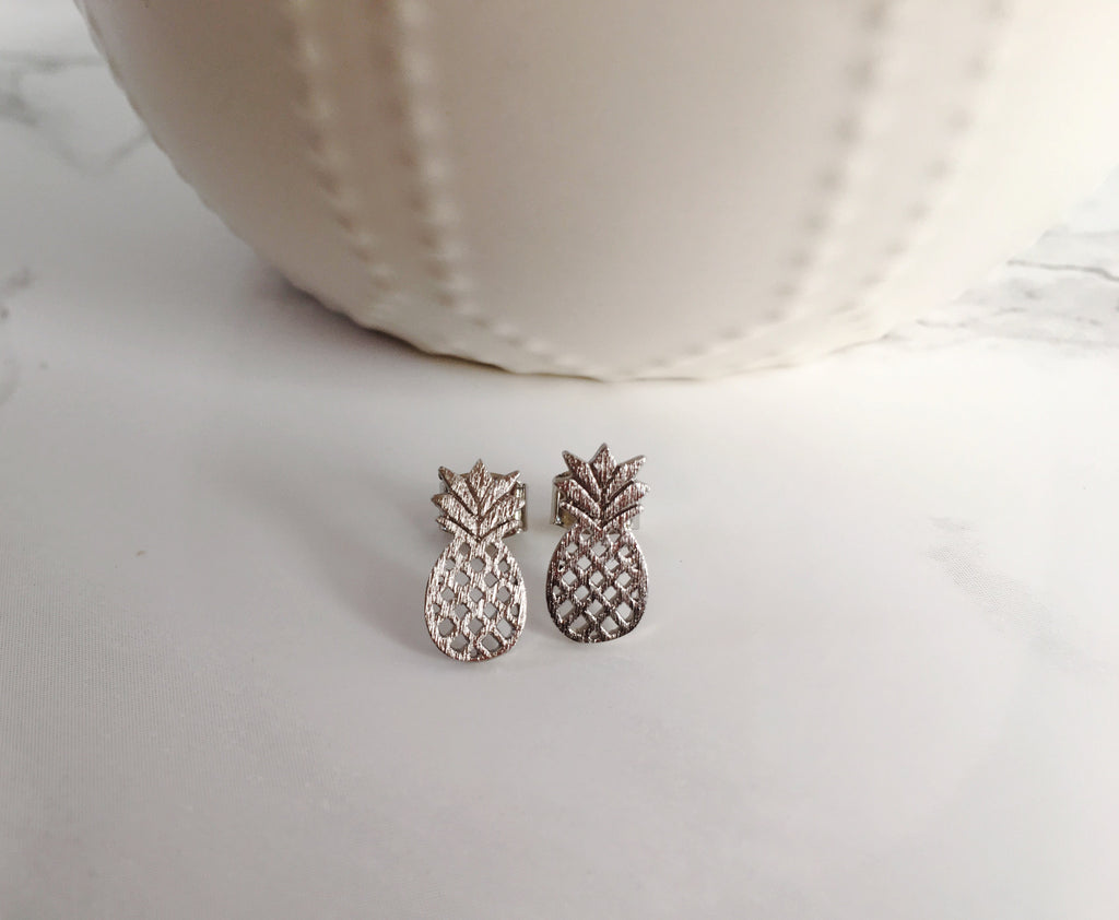Tiny Pineapple Studs- Silver - Anna Jane  - 1