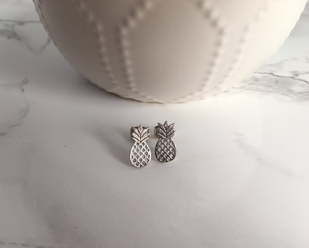 Tiny Pineapple Studs- Silver - Anna Jane  - 2