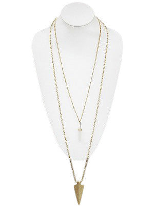 Stone Horn & Arrow Layered Necklace - Anna Jane  - 3