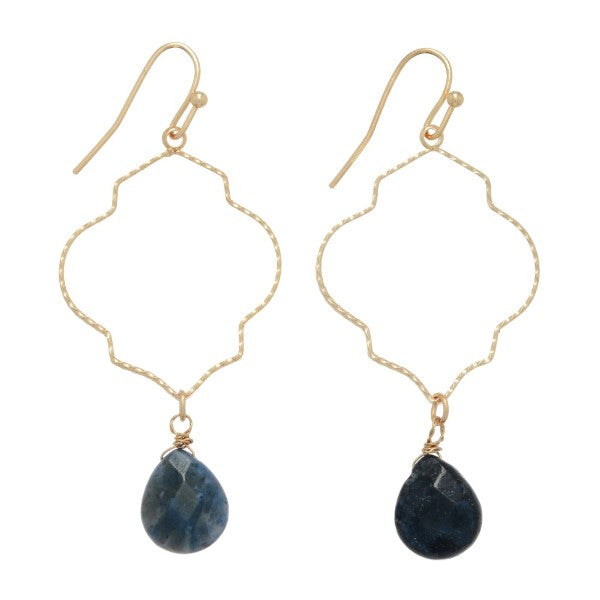 Sodalite Stone Drop Earrings - Anna Jane  - 1