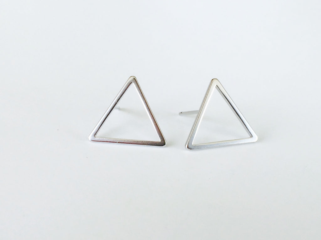 Large Triangle Studs- Silver - Anna Jane  - 2