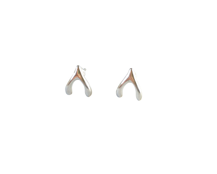 Wishbone Stud Earrings- Silver - Anna Jane