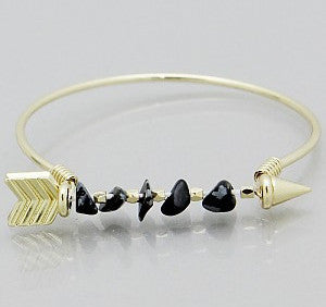 Gold Arrow Bangle Bracelet - Anna Jane
