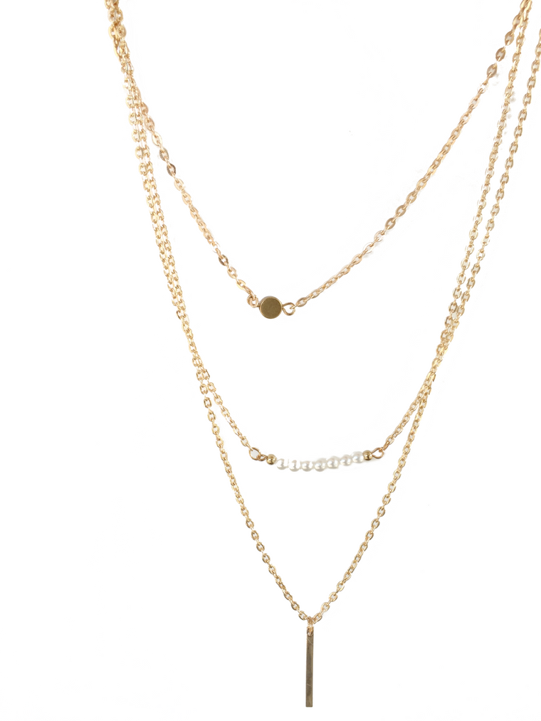 Vertical Bar and Pearls Layering Necklace - Anna Jane  - 1