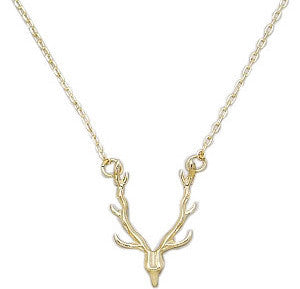 Deer Antler Pendant Necklace- Gold - Anna Jane