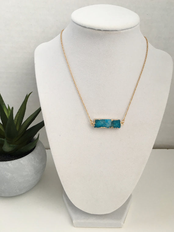 Natural Druzy Bar Necklace- Blue