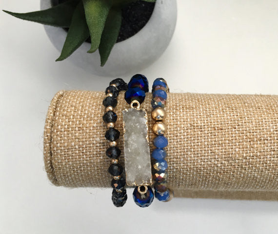 Natural Druzy Stone Bracelet- Royal Blue
