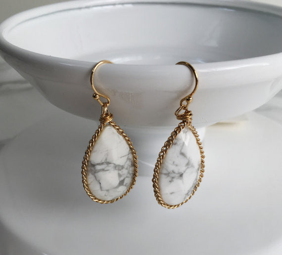 Marbled Stone Teardrop Earring