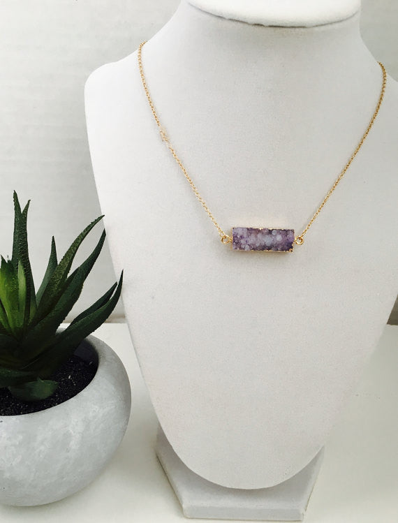 Natural Druzy Bar Necklace- Purple
