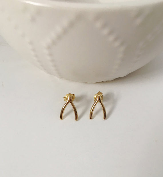 Wishbone Stud Earrings- Gold