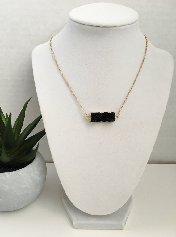 Natural Druzy Bar Necklace- Black