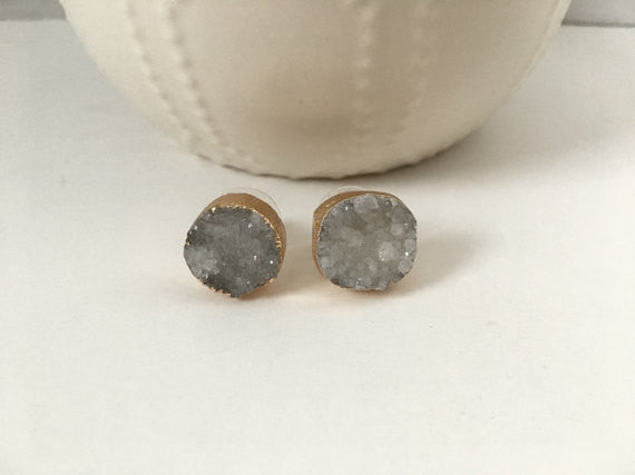 Natural Druzy Studs- Gray