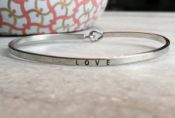 """LOVE"" Etched Thin Bangle Bracelet"