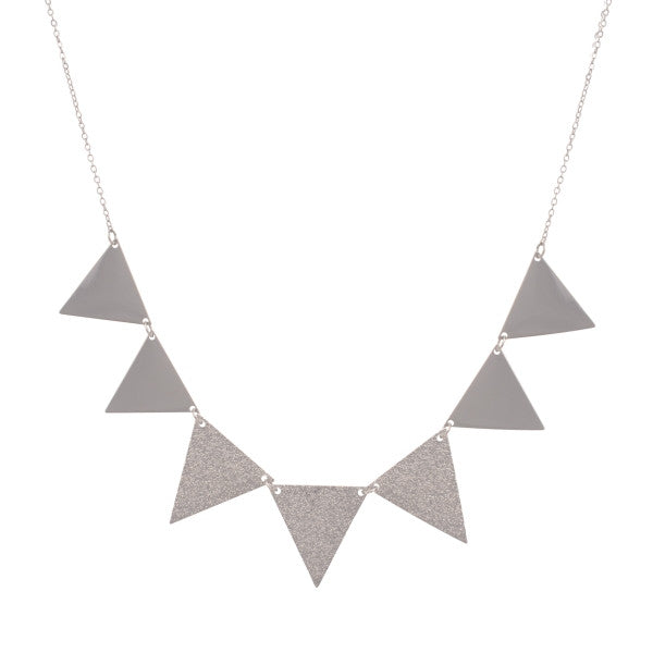 Silver Triangle Statement Necklace - Anna Jane  - 1