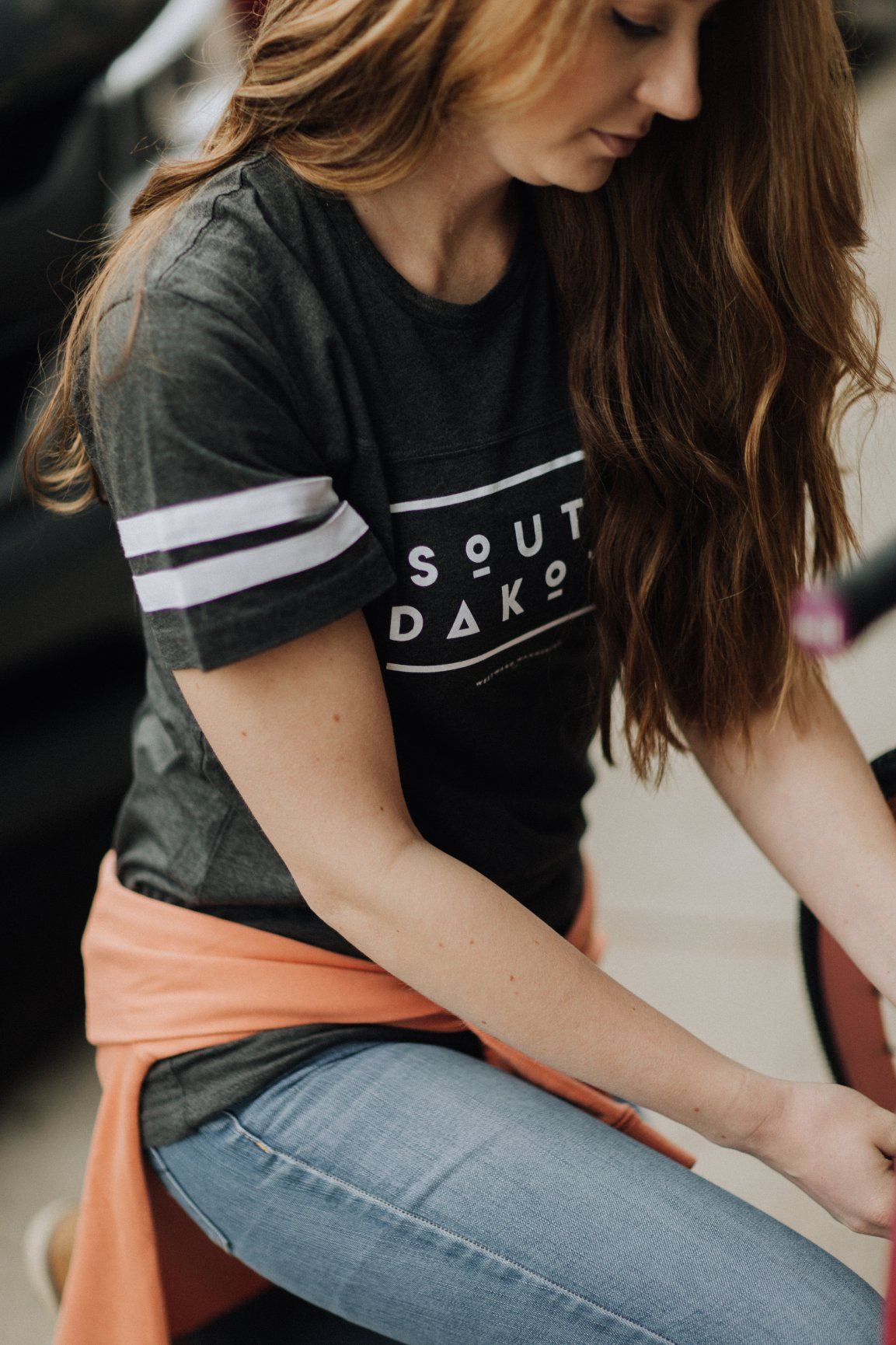 South Dakota Striped Football Tee |  Vintage Smoke