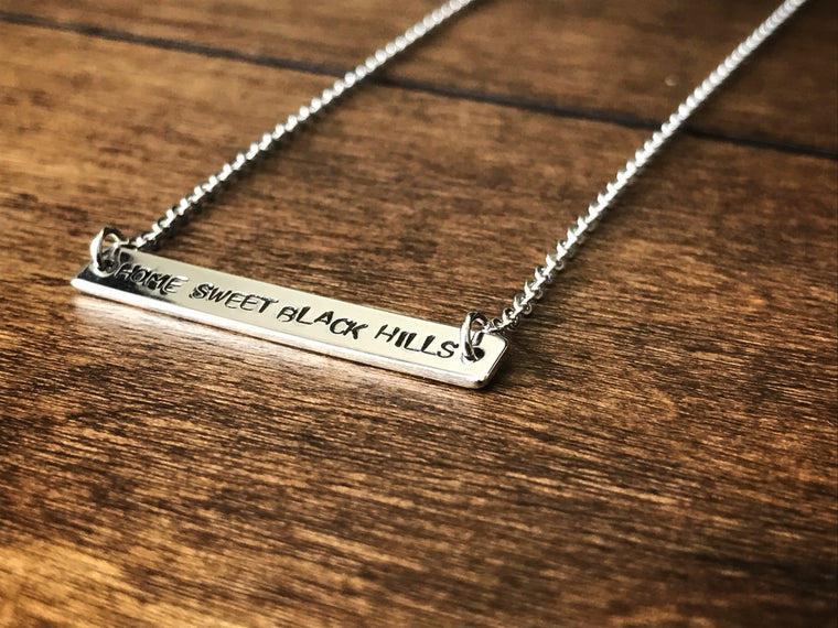 Home Sweet Black Hills Silver Bar Necklace