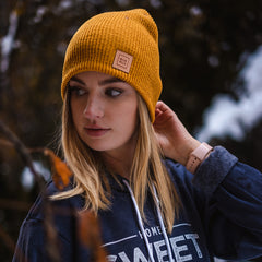 BLCK HLLS Leather Patch Beanie // Mustard