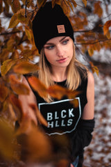 BLCK HLLS Leather Patch Beanie // Black