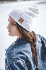 BLCK HLLS Leather Patch Beanie // White