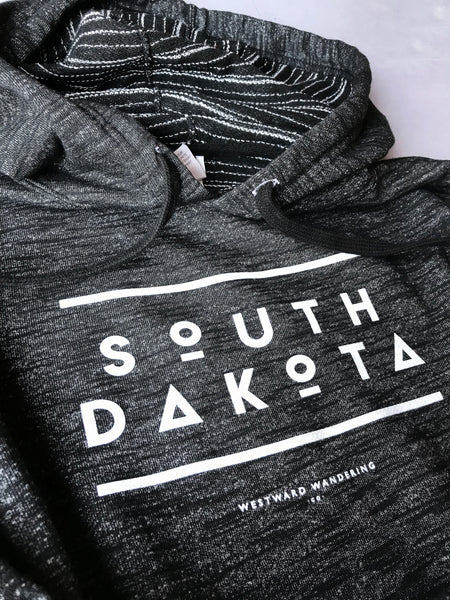 South Dakota Baja Striped Hoodie | Black Heather