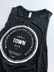 Unincorporated Small Town Flowy Muscle Tank | Black Heather