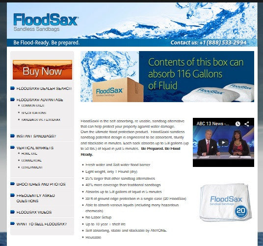 FloodSax® Sandless Sandbags Launches New Website and Brand Refresh