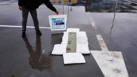 FloodSax Sandless Sandbags saves Ikea from parking lot flooding