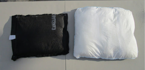a H2O blocks sandless sandbag review vs flood sacks flood bags floodsax sandbag alternative top view inflated activated with water