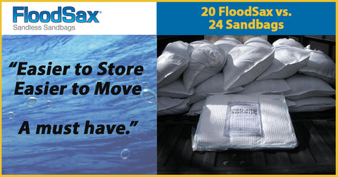 FloodSax Sandless Sandbags fights floods with less space