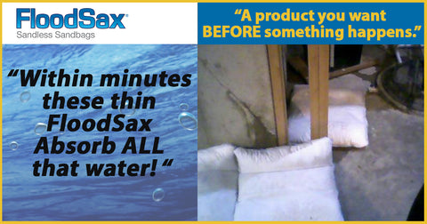 floodsax absorbs water leaks and spills sandless sanbag alternative