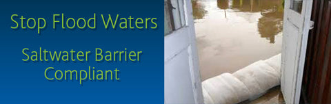 flood barrier wall - stop saltwater - stop flooding - flood defense product - floodsax - sandless sandbag