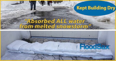 stopped spring snow melt from flooding instant sandless sandbags