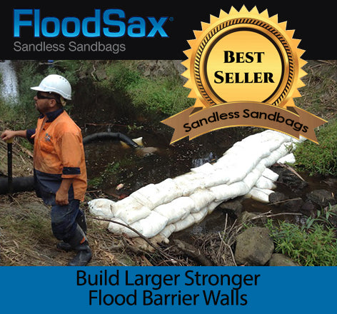 build larger stronger flood barrier walls that is saltwater compliant with floodsax instant sandless sandbag alternative