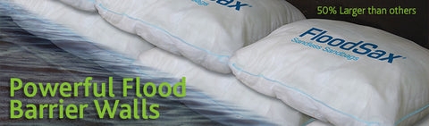 powerful flood barrier wall - saltwater compliant - floodsax sandless sandbags