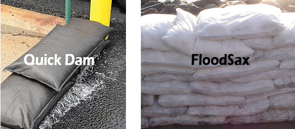 Quick Dam Sandless Sandbag Alternatives vs. Flood sacks