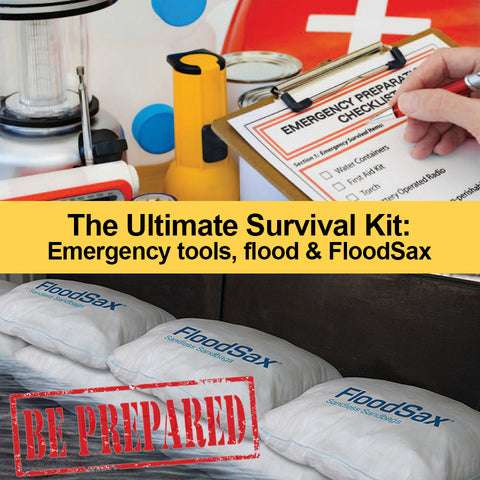 Disaster Kit Survival Kit and Instant Sandless Sandbag alternative FloodSax flood bags flood sacks