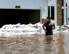 Floodsax barrier flood defense sandbags to protect home
