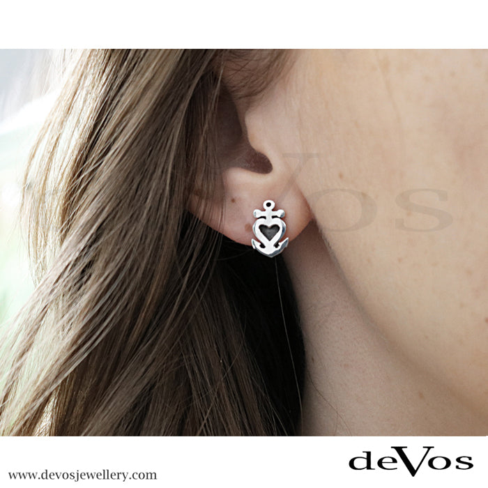 Heart and Anchor Stud Earrings