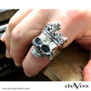 Skull (Large Half Skull with Crown) Ring