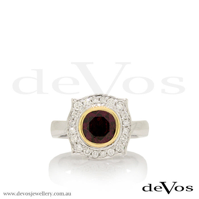 """Till Death"" Rhodolite Garnet and Diamond Skull Ring"