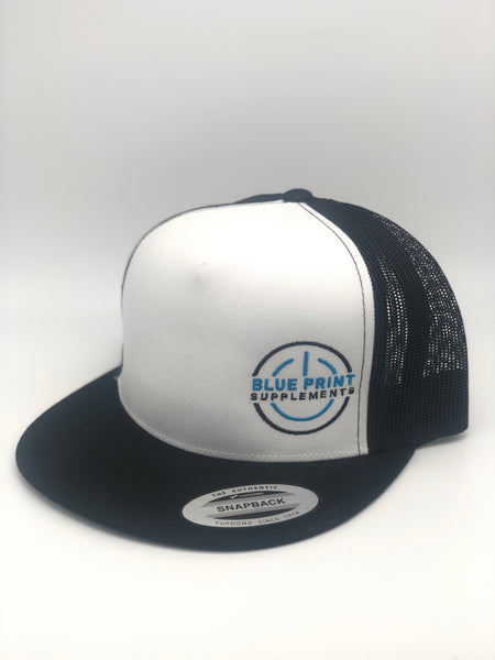Black Blue Print Snapback Trucker Hat