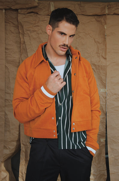 Burnt Orange Bomber Jacket